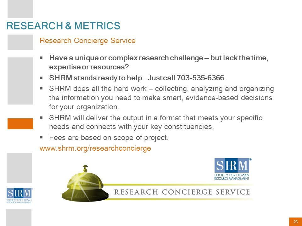 RESEARCH & METRICS Research Concierge Service