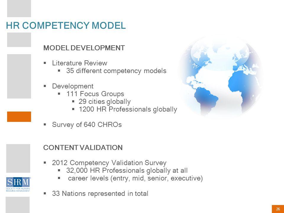 HR COMPETENCY MODEL MODEL DEVELOPMENT Literature Review