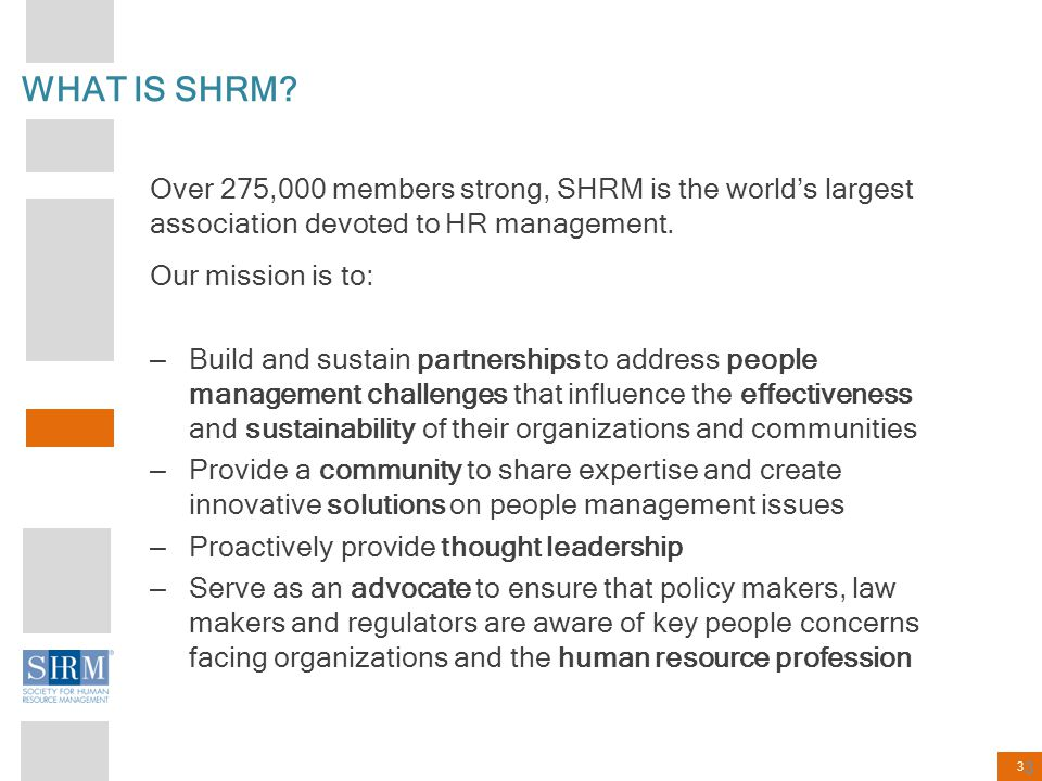 WHAT IS SHRM Over 275,000 members strong, SHRM is the world's largest association devoted to HR management.