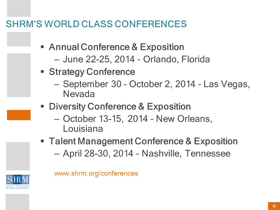 SHRM'S WORLD CLASS CONFERENCES