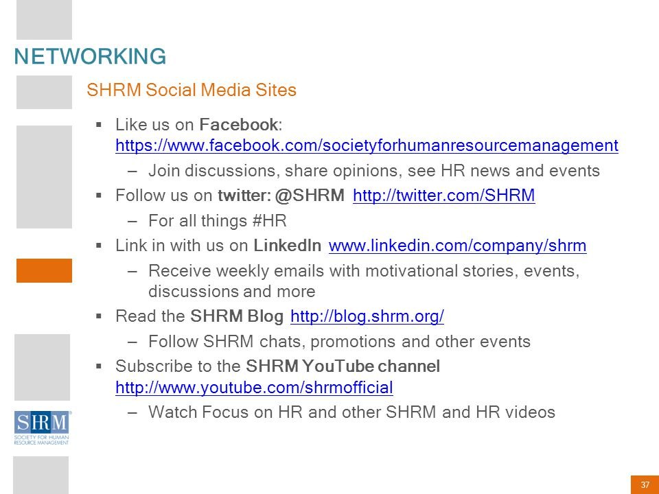 NETWORKING SHRM Social Media Sites