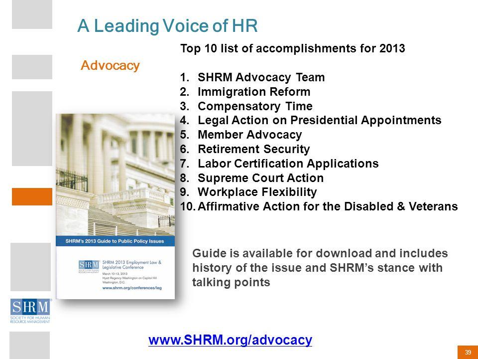 A Leading Voice of HR Advocacy www.SHRM.org/advocacy