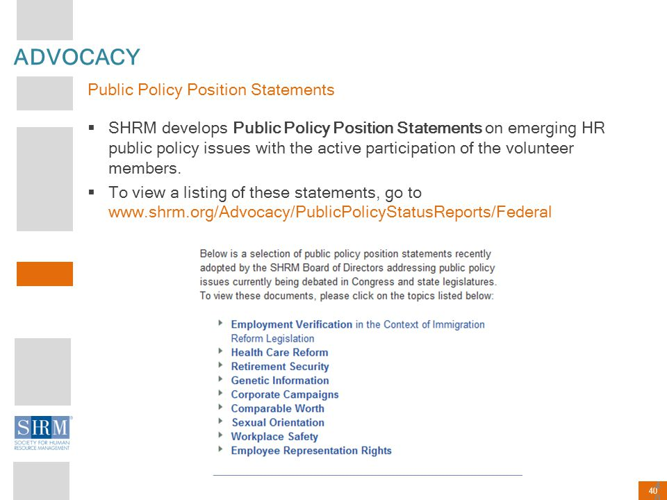 ADVOCACY Public Policy Position Statements