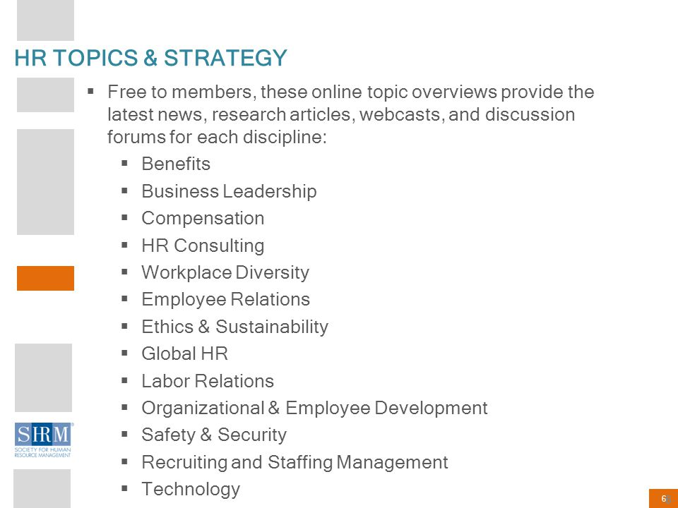HR TOPICS & STRATEGY