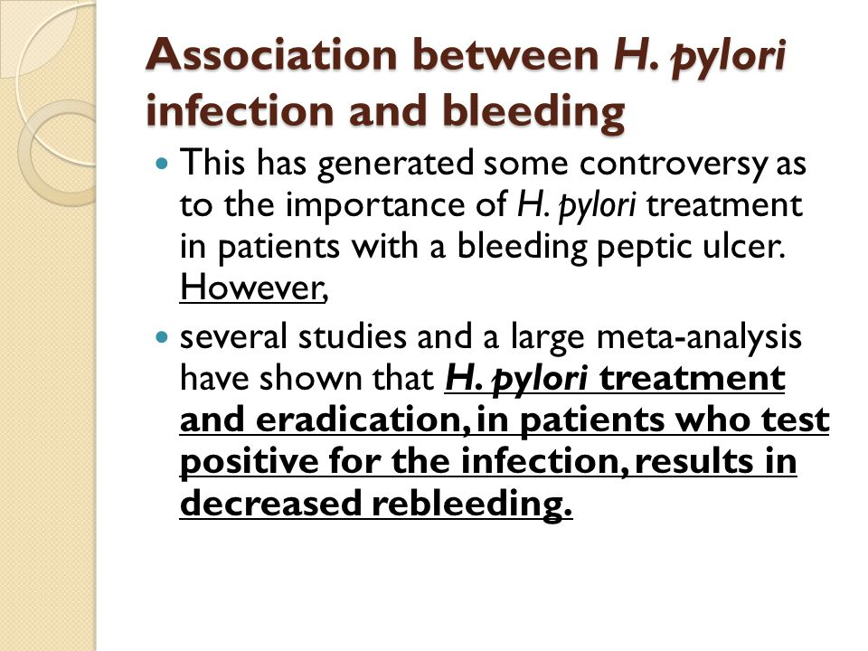 Association between H. pylori infection and bleeding