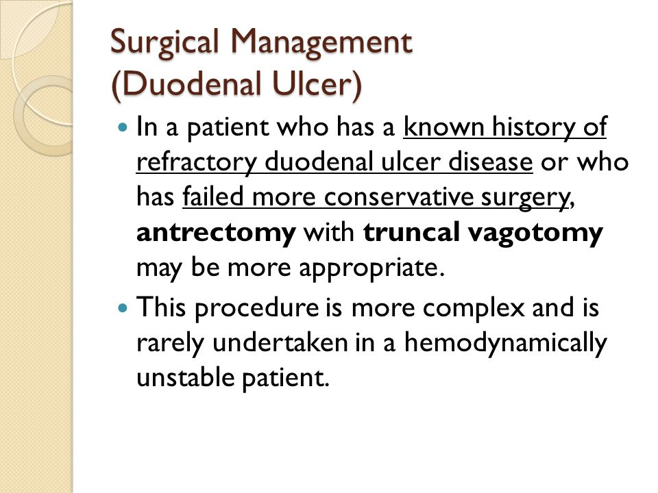 Surgical Management (Duodenal Ulcer)