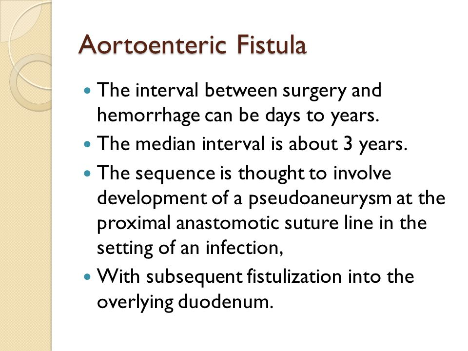 Aortoenteric Fistula The interval between surgery and hemorrhage can be days to years. The median interval is about 3 years.