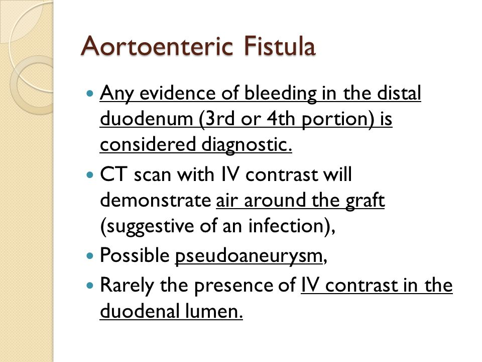 Aortoenteric Fistula Any evidence of bleeding in the distal duodenum (3rd or 4th portion) is considered diagnostic.