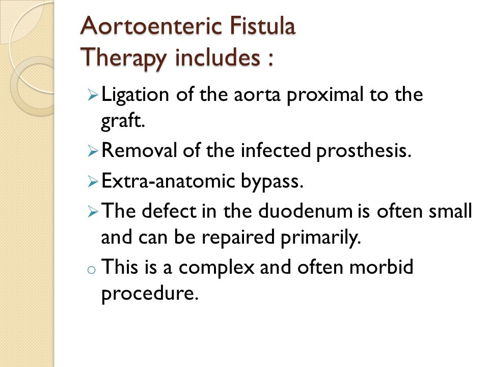 Aortoenteric Fistula Therapy includes :