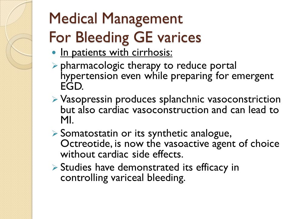 Medical Management For Bleeding GE varices