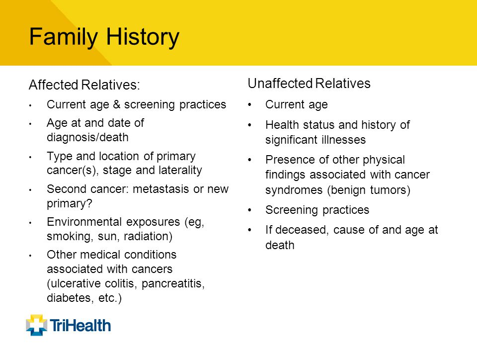 Family History Affected Relatives: Unaffected Relatives
