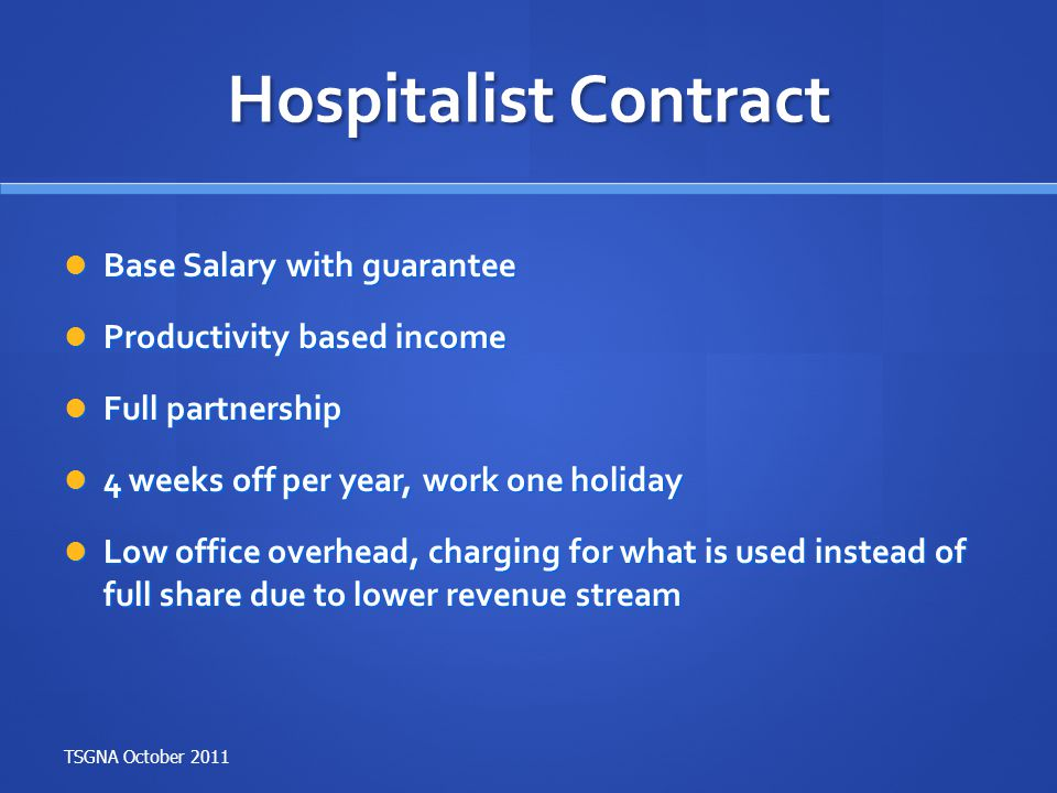 Hospitalist Contract Base Salary with guarantee
