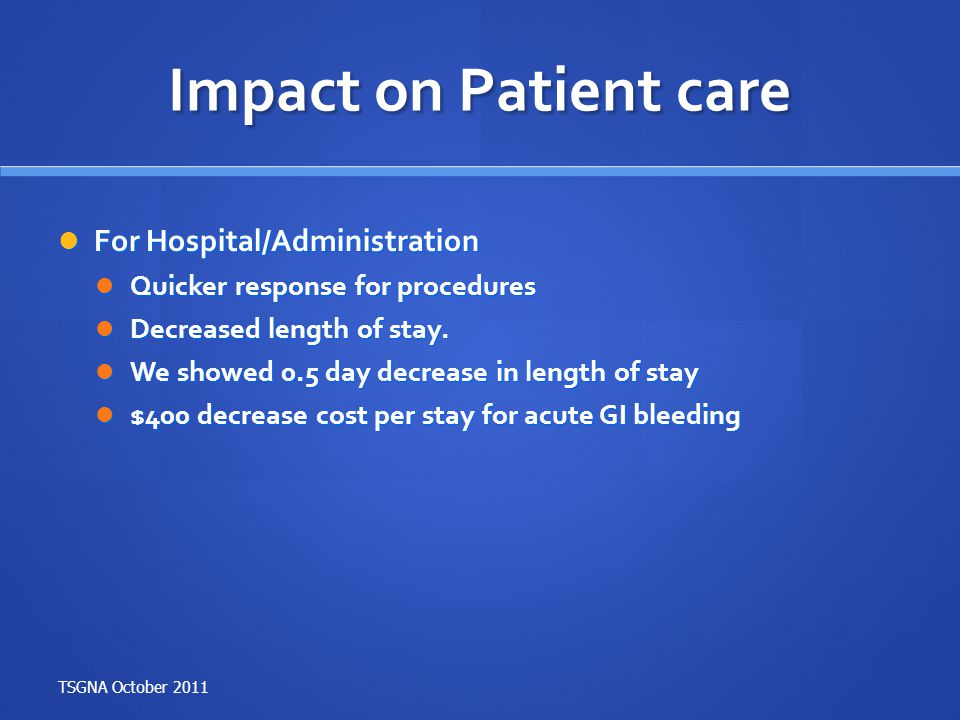 Impact on Patient care For Hospital/Administration