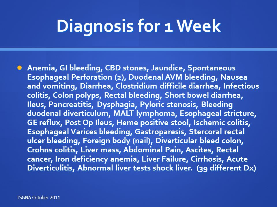 Diagnosis for 1 Week