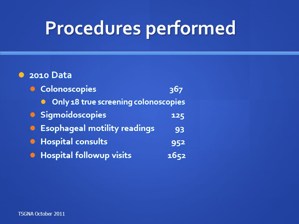 Procedures performed 2010 Data Colonoscopies 367 Sigmoidoscopies 125