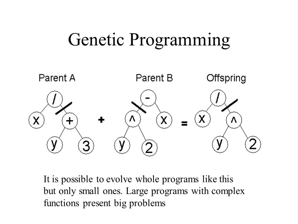 Genetic Programming It is possible to evolve whole programs like this but only small ones.