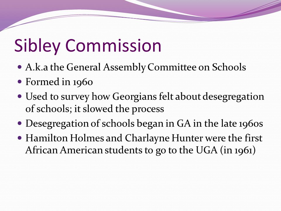Sibley Commission A.k.a the General Assembly Committee on Schools