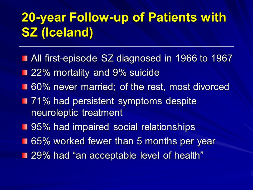 20-year Follow-up of Patients with SZ (Iceland)