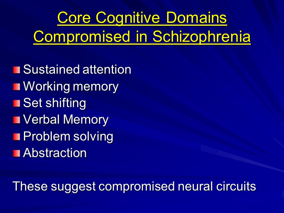 Core Cognitive Domains Compromised in Schizophrenia