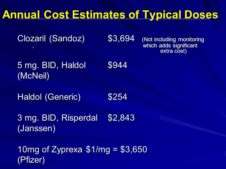 Annual Cost Estimates of Typical Doses