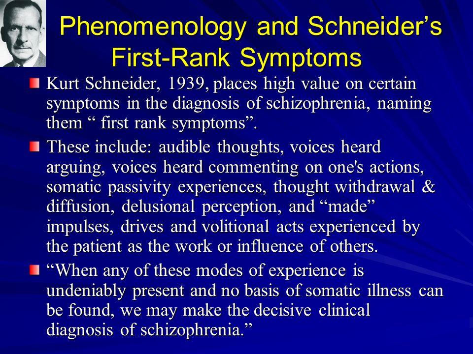 Phenomenology and Schneider's First-Rank Symptoms