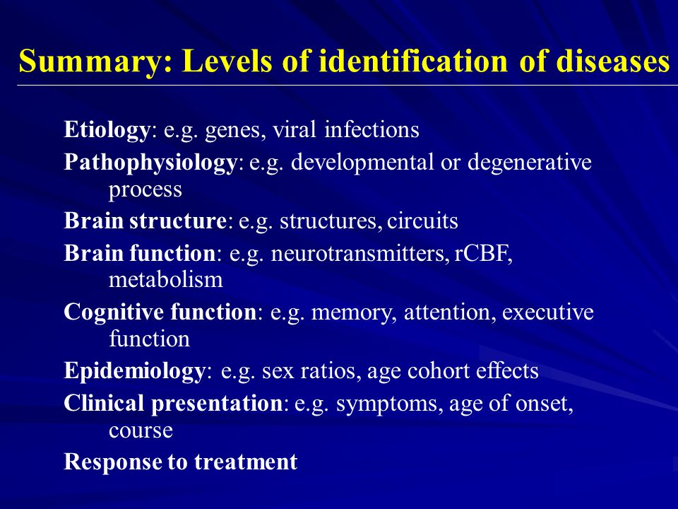 Summary: Levels of identification of diseases
