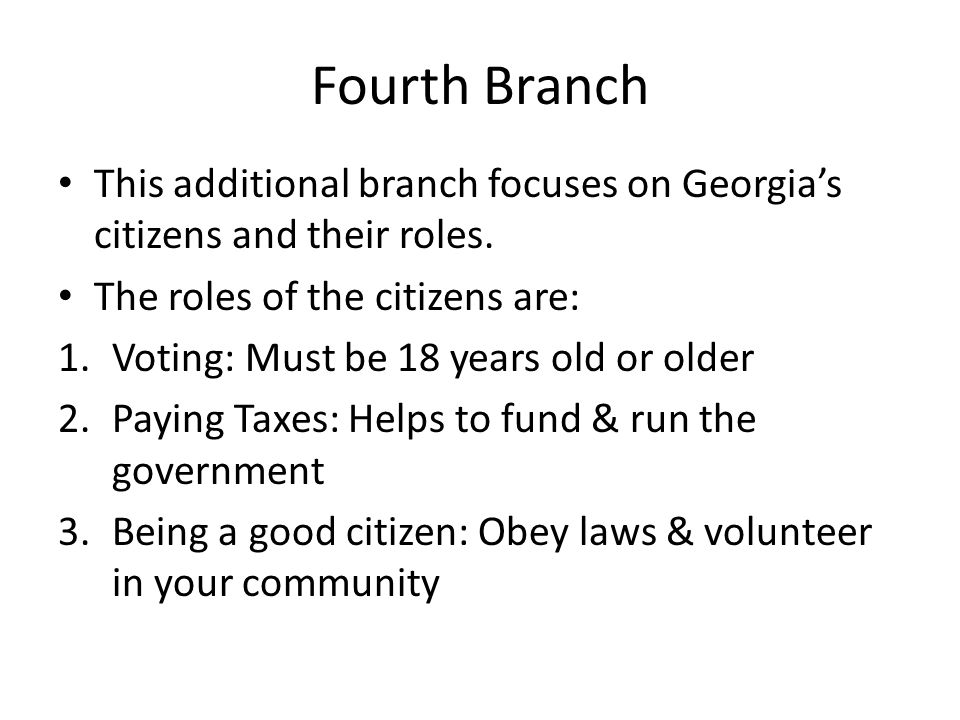 Fourth Branch This additional branch focuses on Georgia's citizens and their roles. The roles of the citizens are: