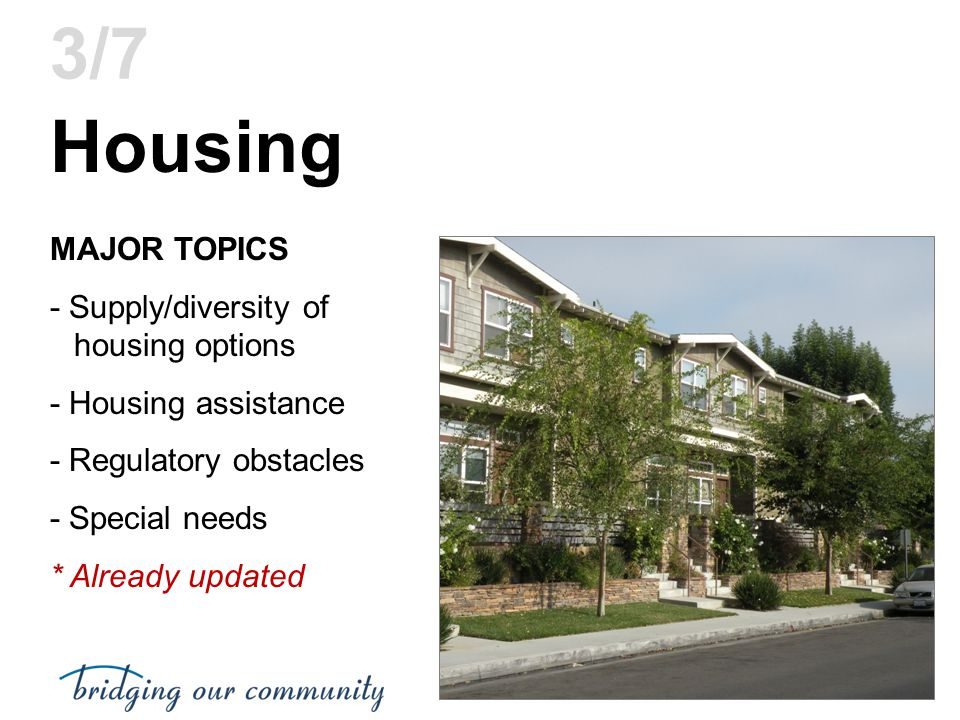 Housing 3/7 MAJOR TOPICS - Supply/diversity of housing options