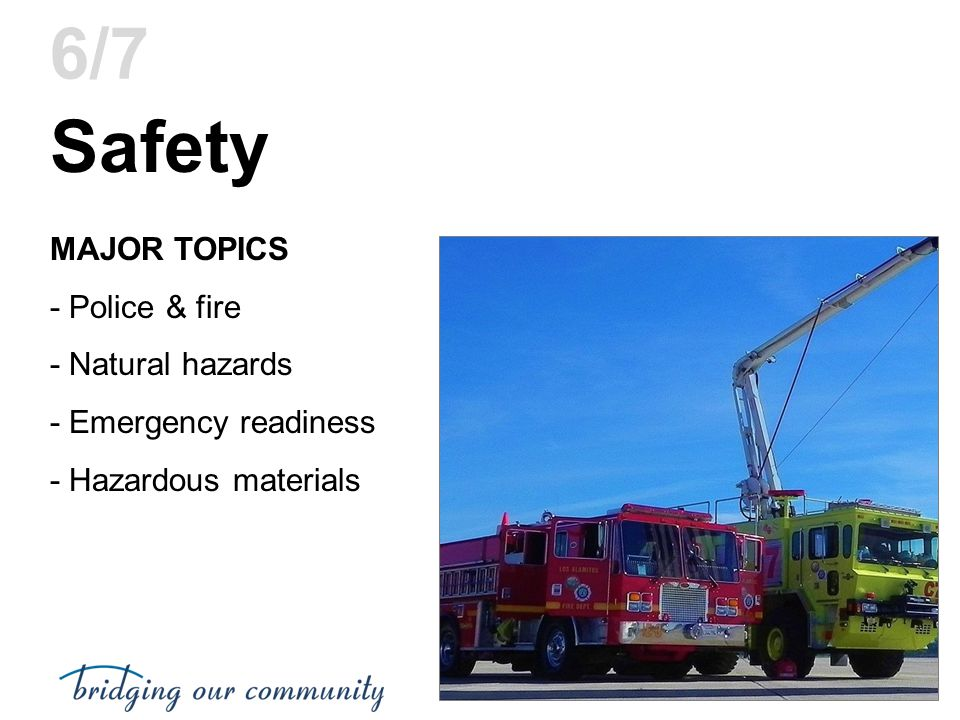 Safety 6/7 MAJOR TOPICS - Police & fire - Natural hazards