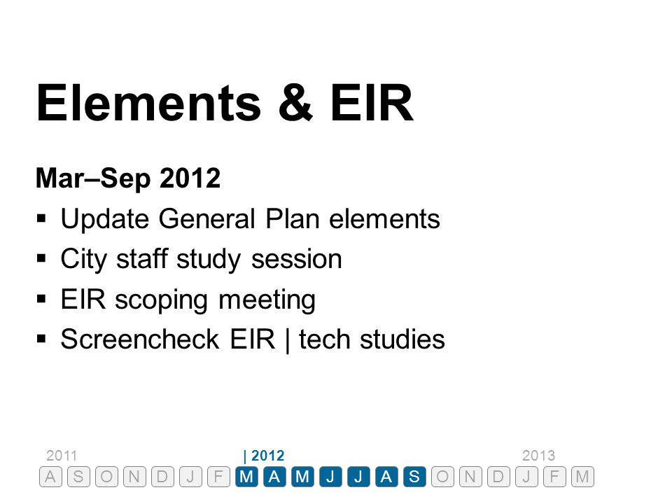 Elements & EIR Mar–Sep 2012 Update General Plan elements