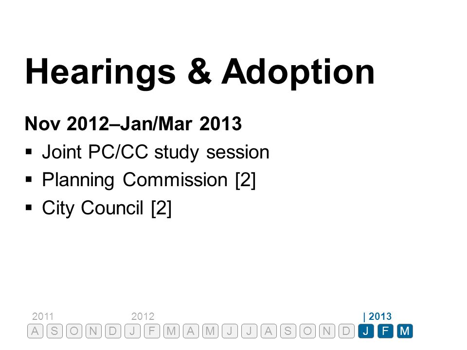 Hearings & Adoption Nov 2012–Jan/Mar 2013 Joint PC/CC study session
