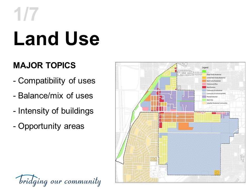 Land Use 1/7 MAJOR TOPICS - Compatibility of uses