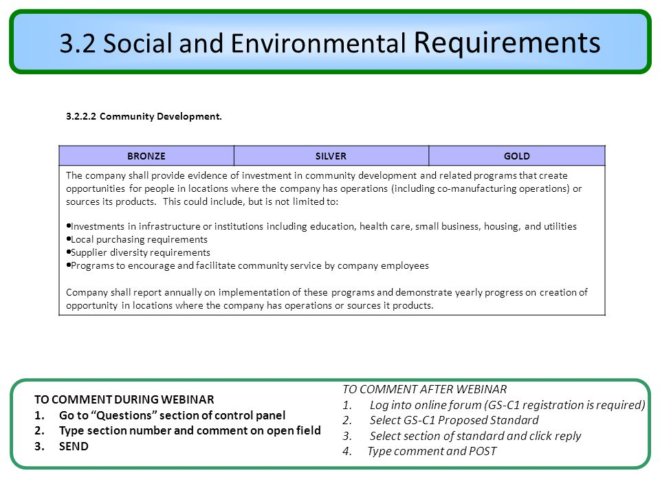 3.2 Social and Environmental Requirements