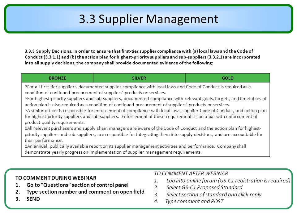 3.3 Supplier Management TO COMMENT AFTER WEBINAR