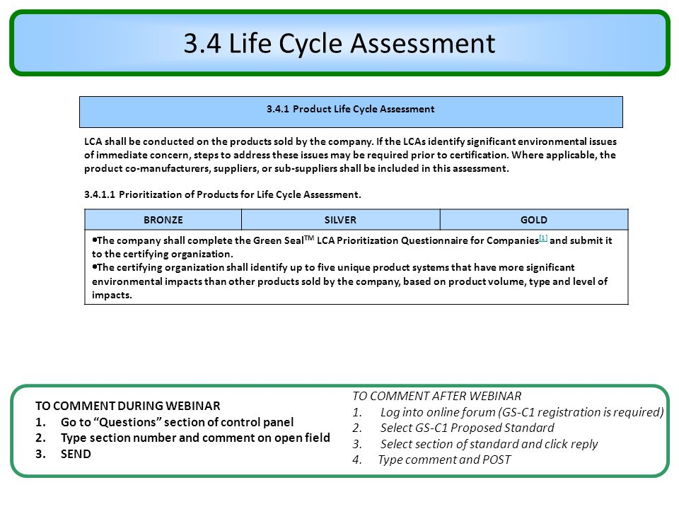 3.4.1 Product Life Cycle Assessment