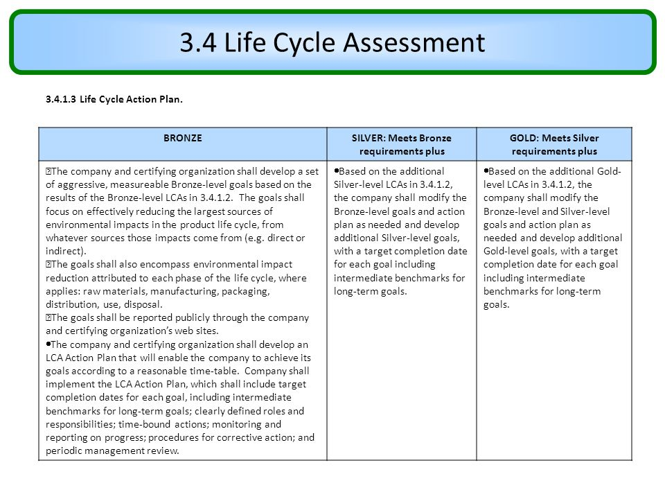 3.4 Life Cycle Assessment 3.4.1.3 Life Cycle Action Plan. BRONZE