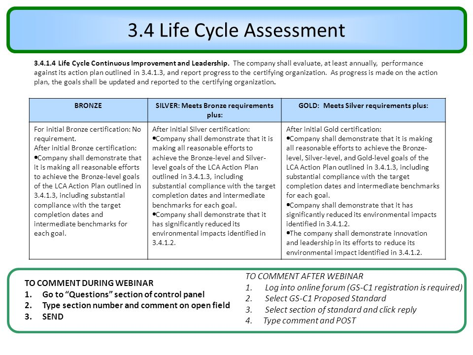 3.4 Life Cycle Assessment TO COMMENT AFTER WEBINAR