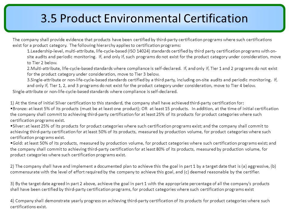 3.5 Product Environmental Certification