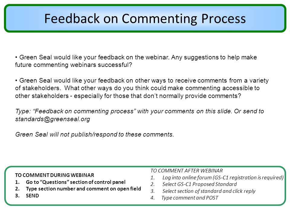 Feedback on Commenting Process