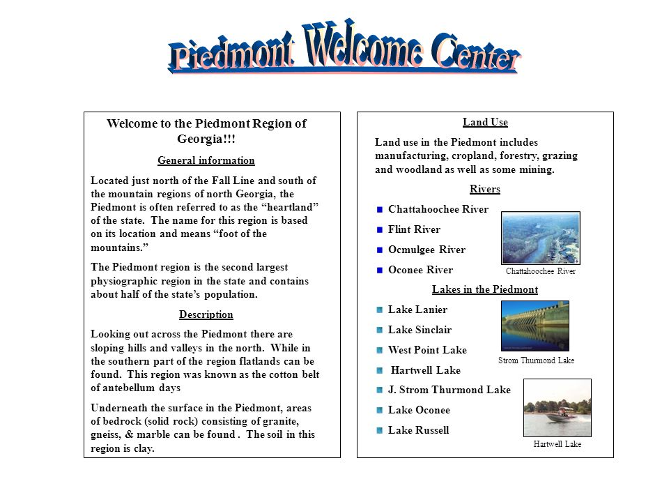 Welcome to the Piedmont Region of Georgia!!!