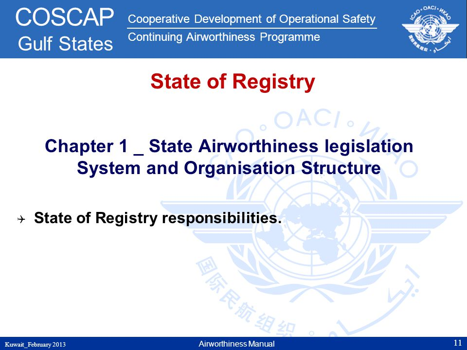 State of Registry Chapter 1 _ State Airworthiness legislation System and Organisation Structure. State of Registry responsibilities.