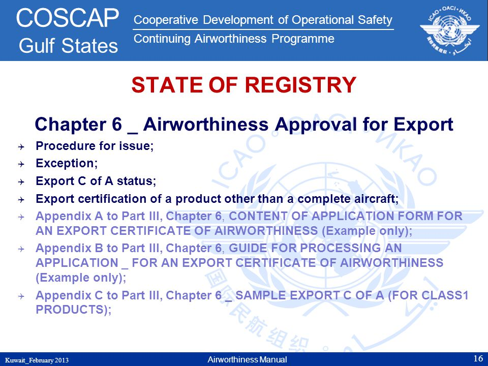 Chapter 6 _ Airworthiness Approval for Export