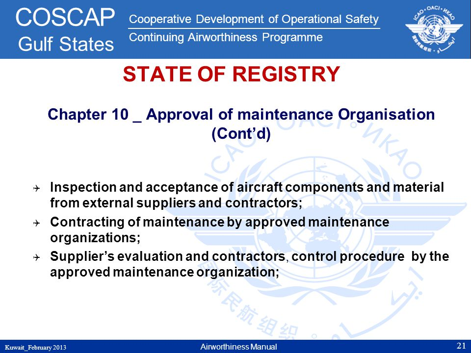 Chapter 10 _ Approval of maintenance Organisation (Cont'd)