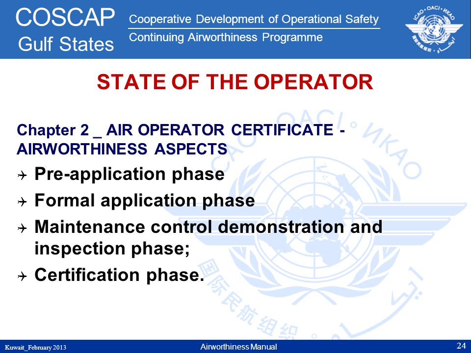 STATE OF THE OPERATOR Pre-application phase Formal application phase
