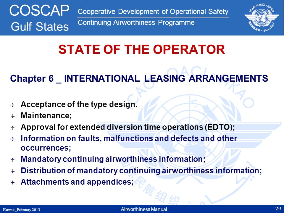 STATE OF THE OPERATOR Chapter 6 _ INTERNATIONAL LEASING ARRANGEMENTS