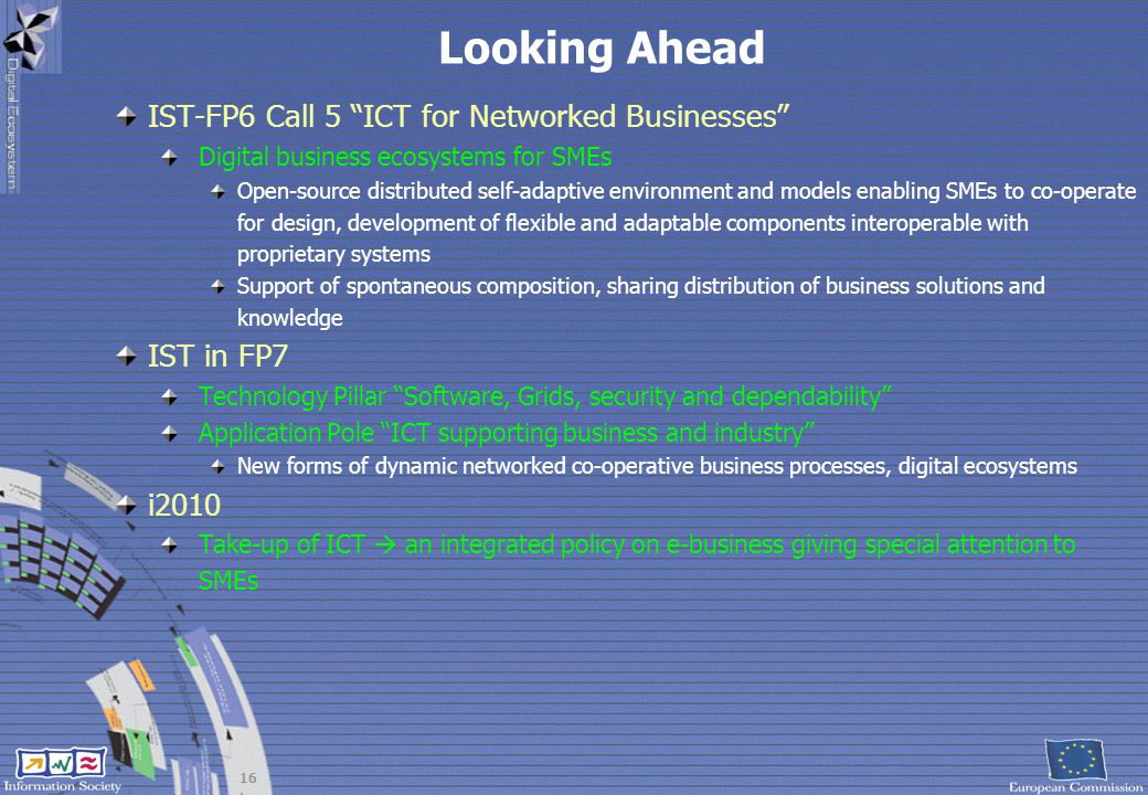 Looking Ahead IST-FP6 Call 5 ICT for Networked Businesses IST in FP7