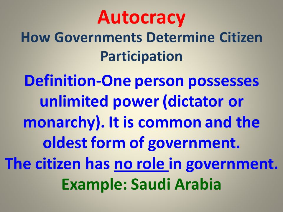 Autocracy How Governments Determine Citizen Participation.