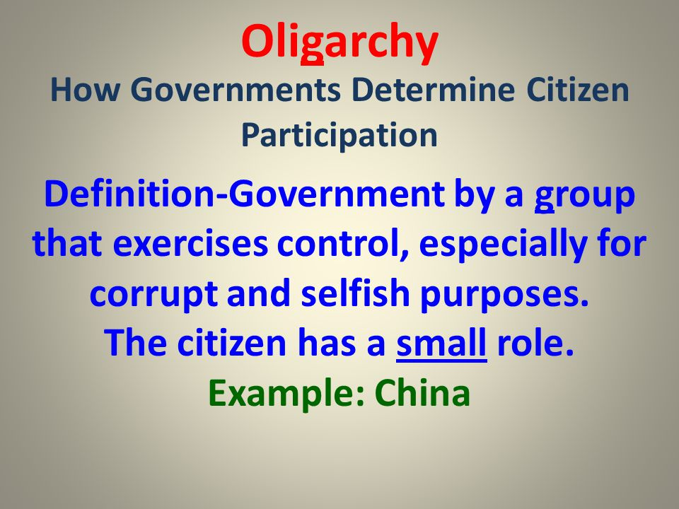 Oligarchy How Governments Determine Citizen Participation.