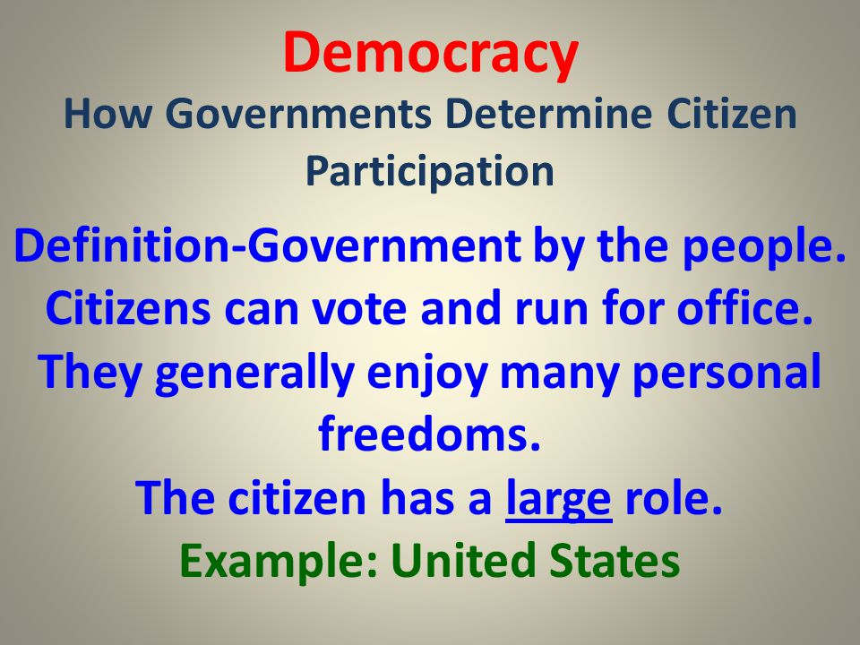 Democracy How Governments Determine Citizen Participation.