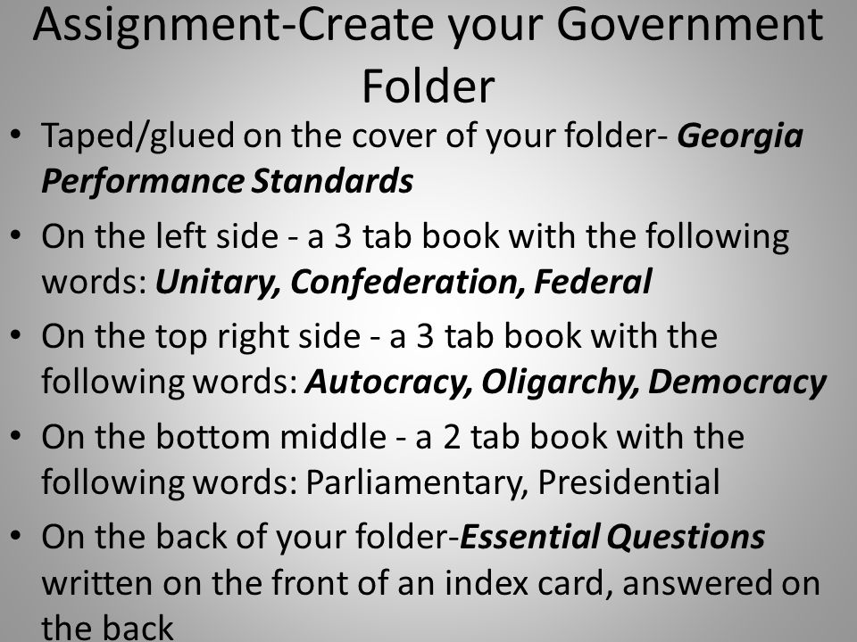 Assignment-Create your Government Folder